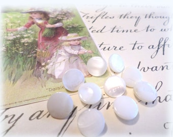 10 Vintage White Pearl Buttons 3/8 Inch from Muscatine, Iowa for Sewing, Crafts, Scrapbooking, Cardmaking, Jewelry