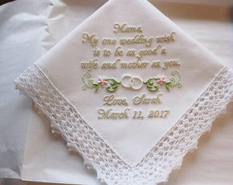 Wedding Wish Personalized Mother of the Bride Wedding Handkerchief with Wedding Ring Swag