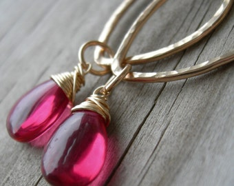 Spectacular Rubellite Quartz Hammered Gold Link Earrings