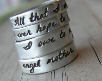 Angel Mother Ring Stack Sterling Silver Mom Rings Mothers Day