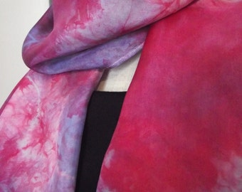 Hand Dyed Shibori Silk Scarf, Red and Cornflower, Lavender - Straight or Infinity Loop Scarf 14x72""