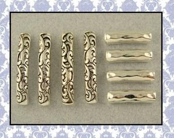 2 Hole Beads Rococo Style Raised Filigree Flourish & Hammered Pattern Metal Bangle Bars ~ Sliders QTY 8