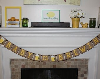 baby shower beer brew decor decorations A BABY is BREWING Banner daddy dad diaper