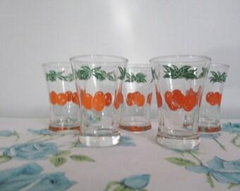 Set of 5 Vintage Orange Juice Glasses