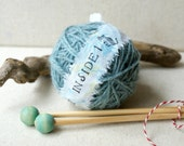 Surprise Yarn Ball- Sugar Mouse Blue and needles