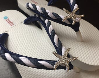 Astrid Bridal Flip Flops, Starfish Navy Custom Flip Flops, Starfish Dancing Shoes, Bridal Sandals, Wedding Flip Flops, Beach Wedding Shoes