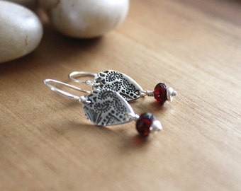 Garnet Dangle Earrings Silver Earrings Paisley Jewelry Recycled Silver Eco Friendly Jewelry January Birthstone Earrings