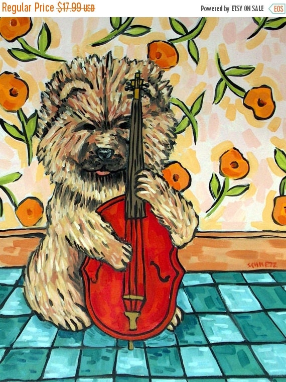 on sale chow chow playing stand up bass dog art by schmetzpetz. Black Bedroom Furniture Sets. Home Design Ideas