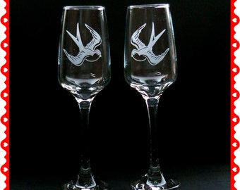 Swallow engraved Champagne glasses