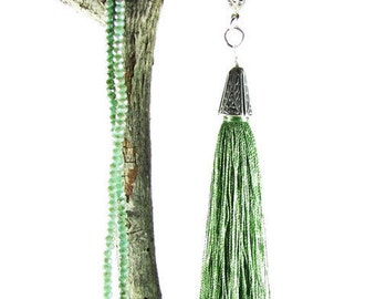 Extra Long Tassel Necklace, Sage Green Long Tassel Lariat, Crystal Chain Tassel Necklace
