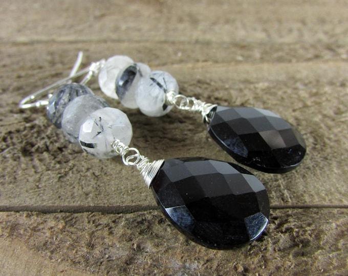 Rutilated Quartz & Black Onyx Earrings, Black and White Dangles, Gemstone Jewelry