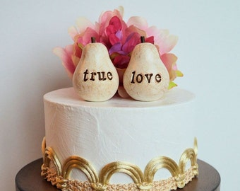 Wedding cake topper pears cake toppers wedding pears rustic cake topper wedding cake pears wedding true love bride and groom Princess Bride