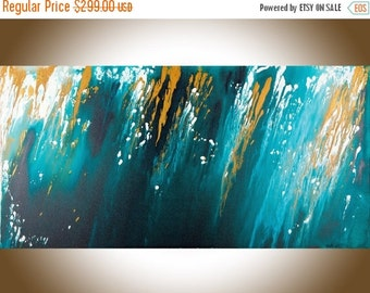 Modern abstract large Wall Art Original acrylic Free Flow painting home decor wall art  Turquoise gold canvas art April Shower byqiqigallery