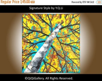 Birch art birch Painting turquoise yellow wall art Knife painting on canvas birthday gift colorful art small gift for men by QiQiGallery