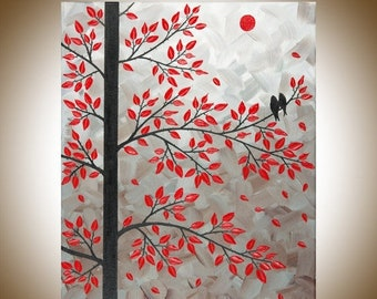 "Red leaves tree love Birds art wall art wall decor Impasto home Office Wall Hangings black red ""Dawn of Love"" by  qiqigallery"