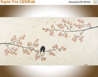 """Abstract painting Large wall art copper art copper home decor Love birds canvas painting wall hangings canvas art """"Just Us"""" by qiqigallery"""