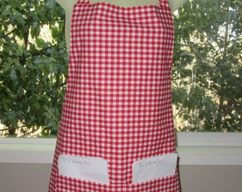aprons for women - womens aprons - red and white gingham