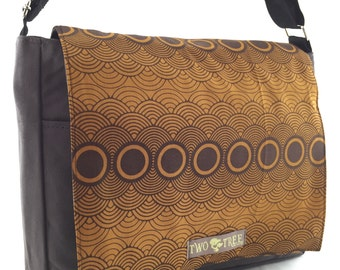 New Brown Circles Retro CLOUDS MESSENGER Book Laptop Diaper BAG