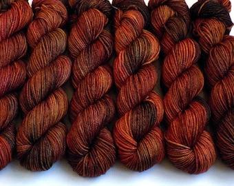 Hand Dyed Yarn Worsted Handdyed Merino Cashmere Nylon Yarn - Red Oak, 200 yards