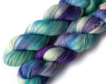 Hand Dyed Yarn Lace Yarn Superwash Merino - Aqua Iris, 960 yards