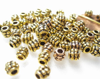 50% Off 50 pcs Gold Spacer Beads, Antique Gold Beads, Turkish Style Beads, 4x3.5mm Spacer Beads, Antique Gold Tube Beads MB1072 J16