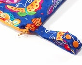 """Medium Wet Bag - gusseted zipper pouch with PUL lining and snapping handle - purse or diaper bag - 10 x 13 inches - """"Bright Butterfly"""""""