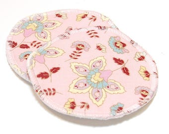 "4.5"" Reusable Cloth Nursing Pad Set in Bamboo/Organic Cotton with heavy fleece in Quilter's Cotton - Pink Floral"