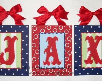 Personalized Circus Red Navy Blue Custom canvas letter name wall sign monogram art baby nursery kids children handpainted dot Red Blue decor