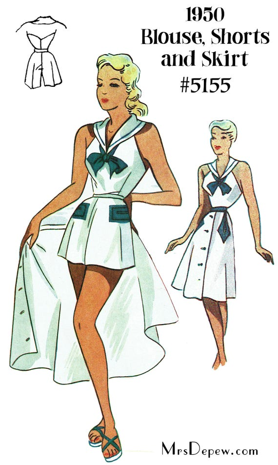 1950s Sewing Patterns | Swing and Wiggle Dresses, Skirts 1950s Sailor Playsuit & Skirt Depew 5155 in Any Size - PLUS Size Included  -INSTANT DOWNLOAD-  AT vintagedancer.com