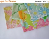 NEW YEAR SAVINGS Vintage Sheets 4 Fat Quarters Blue Pink Green Floral Damask Pack