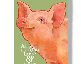 Pig metal sign 8x12 wall decor indoor outdoor garden pig art pig farm sign modern farmhouse wall decor gifts for pig lovers