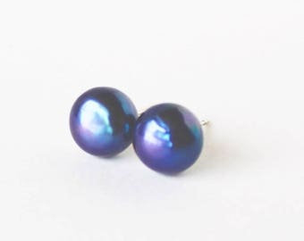 Clearance Sale Black fresh water cultured bouton pearl post earrings