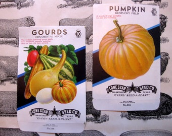 Vintage Pumpkin and Gourd Seed Packs, Fall Ephemera, Lone Star Seed Co. Texas (2 as pictured)