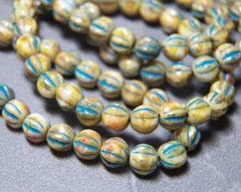 6mm Ivory and Turquoise Fluted Glass Czech Melon Beads (25) 1045