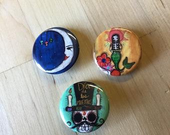 Pin Set- Señor Muertos, Luna, Sunshine mermaid