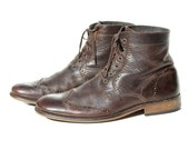 Men's Dark brown Leather Lace Ankle Boots / size 10