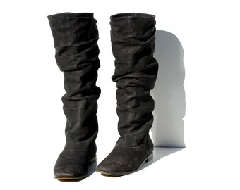 Vintage Italian Black Suede Leather Pull On Tall Boots / size 8.5