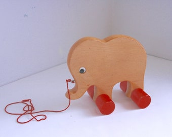 Vintage elephant wooden pull toy toddler pull toy