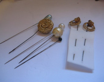 7 Victorian Hat or Stick Pins