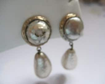 Signed Nettie Rosenstein Clip On Faux Baroque Pearl Drop Earrings