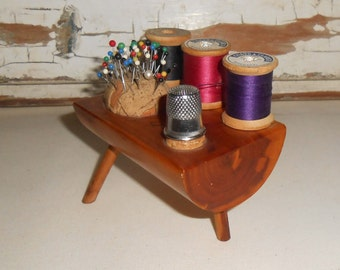 Vintage Wood Sewing Pin Cushion and Spool Holder, Vintage Sewing Supplies, Vintage Sewing Room
