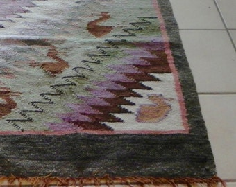 Vintage Kilim runner rug faded peach red cream green pastels woven 22 x 58 inches