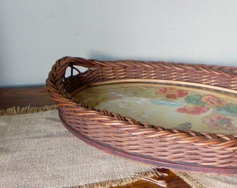 Vintage shabby chic wicker basketweave basket tray - floral lining signed and handmade