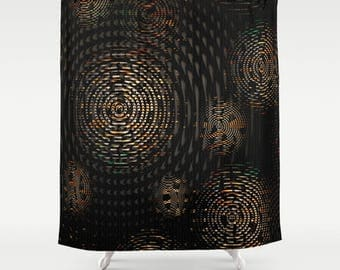 Dark Fabric Shower Curtain, Big Random Weave Circles in Orange Grey and Cream on Rich Black Background, Man Cave Home Decor