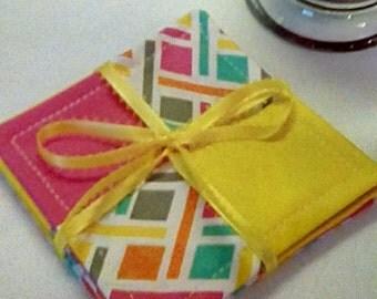 Mug Rug SET of 4, Yellow & Pink Coasters, Fabric Coasters, Handmade, Hostess Gift, FREE Shipping in US