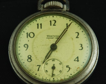 Vintage Antique Watch Pocket Watch Movement Case Body Dial Face Steampunk Altered Art S 74