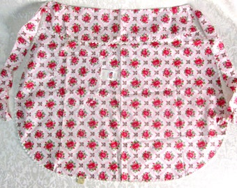 Vintage Half Apron Red White Floral Roses Unused Mint MWT Vintage Retro Mid Century Kitchen Linens Fruit of the Loom Tag Cottage Decor