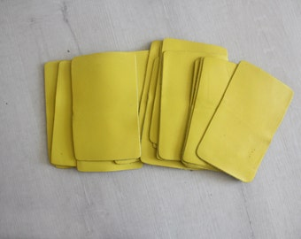 Neon Yellow Leather Square.  Supplies Crafting Project