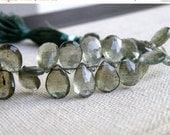 Final 51% off Sale Rare Moss Aquamarine Gemstone Briolette Forest Green Teardrop 10.5 to 11mm 17 beads