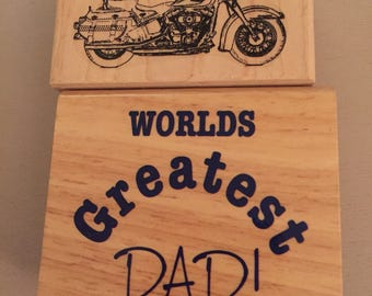 2 Fathers Day Rubber Stamps- motorcycle